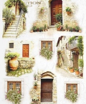 Decoupage Rice Paper A4 - Old doors and stairs ITD-R462