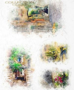 Decoupage Rice Paper A4 - Romantic small streets ITD-R1602