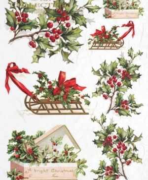 Decoupage Rice Paper A4 - Christmas holly ITD-R448