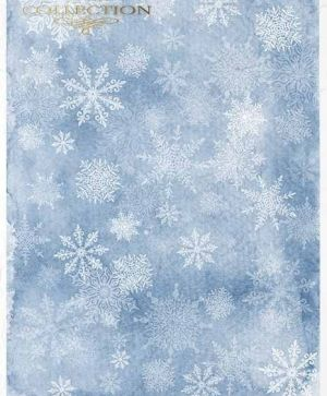 Decoupage Rice Paper A4 - White snowflakes on a blue background ITD-R1501