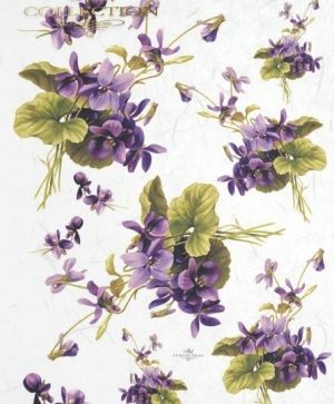 Decoupage Rice Paper A4 -  Purple violets in small bouquets ITD-R217