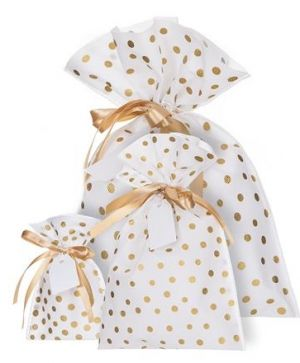 Gift bag 30x40cm - Gold dots DPTO-022