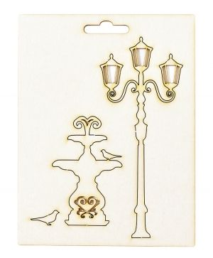 Chipboard element - Fountain and street lamp IDEA1808