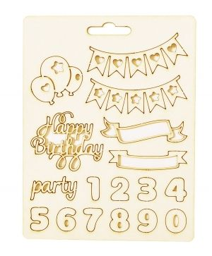 Chipboard element - Happy birthday IDEA1813