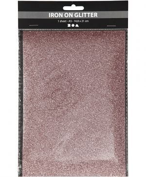 Iron on foil, A5, 1 sheet - Light red glitter C44333