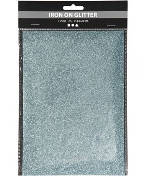 Iron on foil, A5, 1 sheet - Light blue glitter C44335