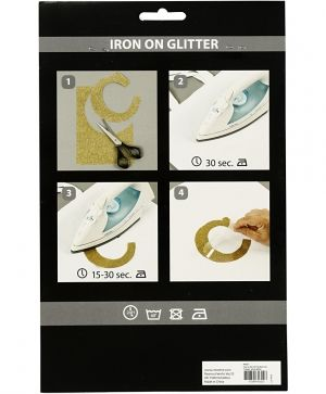 Iron on foil, A5, 1 sheet - Silver glitter C44327