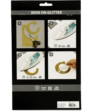 Iron on foil, A5, 1 sheet - Black glitter C44329