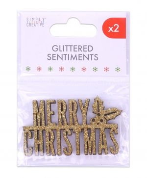 Simply Creative Set of embellishments 2 pcs - Gold Glittered Sentiment  SCTOP055X19