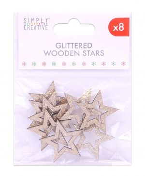 Simply Creative Set of embellishments 8 pcs - Gold Stars SCTOP054X19