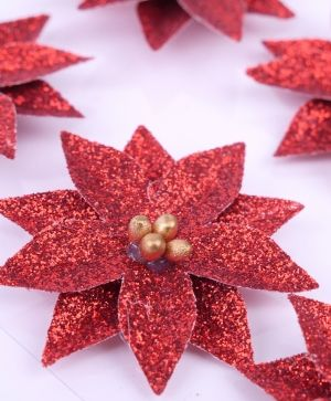 Simply Creative Basics Glittered Poinsettias - 6 pcs SCFLW010X19