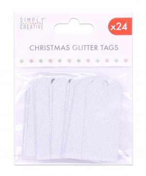 Christmas Glitter Tags 24 pcs - Silver SCTOP035X19