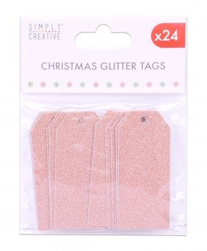 Christmas Glitter Tags 24 pcs - Rose gold SCTOP036X19