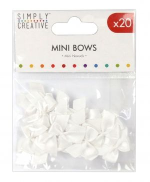 Simply Creative Mini Bows 16 pcs - White SCRBN005
