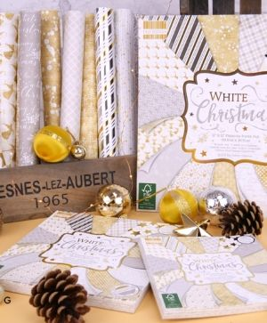 "First edition 8""x8"" Paper Pad - White Christmas FEPAD222X19"