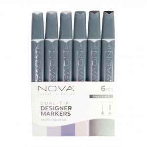 Sketch Markers 6pcs - Greys/ Black NOV007