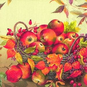 Decoupage napkins 33x33cm, 20 pcs. - BASKET OF APPLES L719160