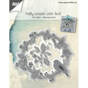 Cutting, embossing  stencil - Wreath with finch 6002-1062