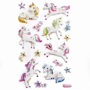 3D Stickers 16 pcs - Unicorns DPNP-010