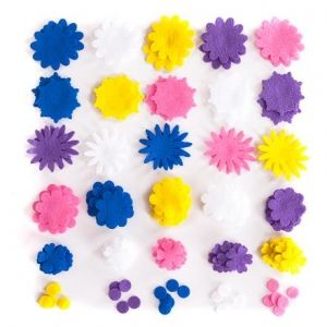 Felt shapes - Flowers, 120 pcs KSFI-278