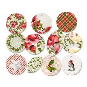 Tags 11 pcs - Rosy Cosy Christmas 01  P13-329