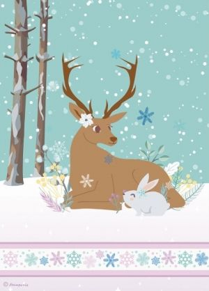 Decoupage Rice Paper A4 - Reindeer and rabbit DFSA4421
