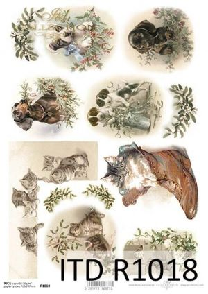 Decoupage Rice Paper A4 -  Cats and dogs ITD-R1018