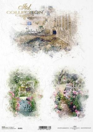 Decoupage Rice Paper A4 -  Wonderful romantic gardens ITD-R1601