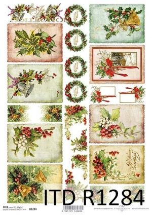 Decoupage Rice Paper A4 - Festive compositions ITD-R1284