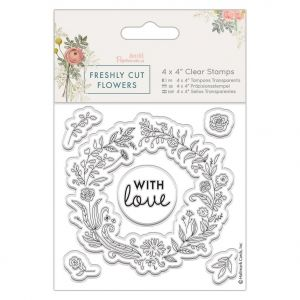 "Acrylic stamp 4""x4"" - Freshly Cut Flowers - Floral Wreath PMA-907264"