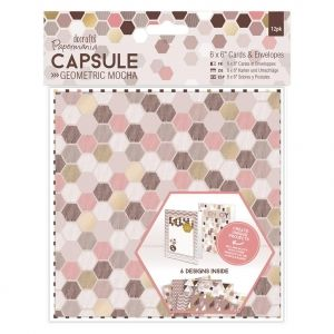 "Cards & Envelopes 6 x 6"" (12pk) - Geometric Mocha PMA-151143"