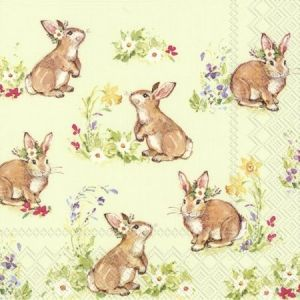 Decoupage napkins 33x33cm, 20 pcs. - SWEET LOVELY BUNNIES L851129