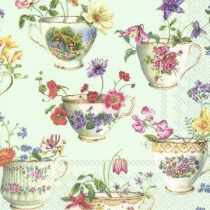 Decoupage napkins 33x33cm, 20 pcs. - CUP OF FLOWERS L868429
