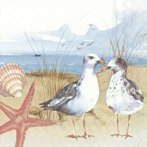 Decoupage napkins 33x33cm, 20 pcs. - SEAGULLS AT THE BEACH L861600