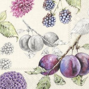 Decoupage napkins 33x33cm, 20 pcs. - DELICIOUS PLUMS  L821566