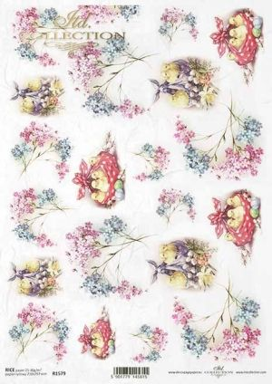 Decoupage Rice Paper A4 - Spring flowers ITD-R1579