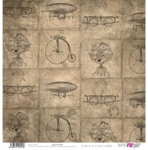 "Double-sided scrapbook paper 12""x12"" - Killing me softly with steampunk PFY-1591"