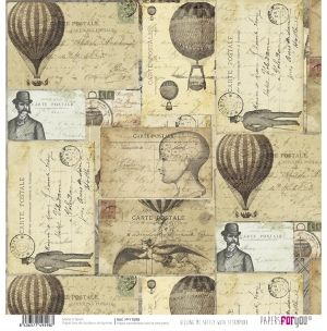 "Double-sided scrapbook paper 12""x12"" - Killing me softly with steampunk PFY-1598"