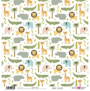 "Double-sided scrapbook paper 12""x12"" - Animal kingdom PFY-1274"