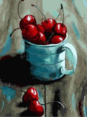 Painting by numbers 30x40cm - Cherry in a mug ME1057e