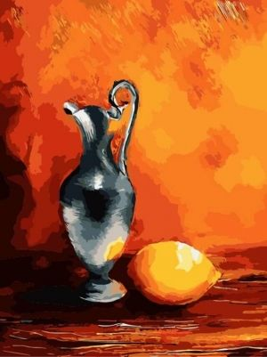 Painting by numbers 30x40cm - Jug with lemon ME1058e