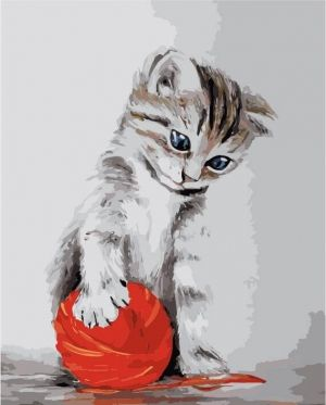 Painting by numbers 40x50cm - Kitten with a red clew MG2075e