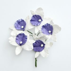 Paper Blossoms 5 pcs - White-lilac orchids MKX-643-3