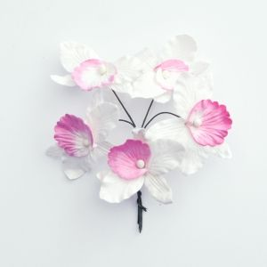 Paper Blossoms 5 pcs - White-pink orchids MKX-643-4