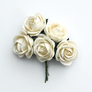 Paper Blossoms 5 pcs - Ivory Chelsea roses MKX-720