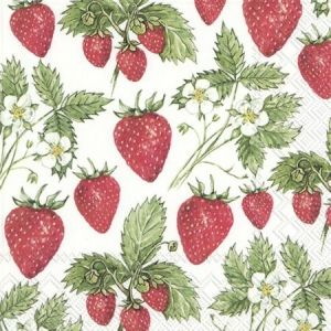 Decoupage napkins 33x33cm, 20 pcs. - DELICIOUS STRAWBERRIES L845100