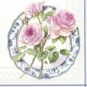 Decoupage napkins 33x33cm, 20 pcs. - ROSE FOR LUNCH L847790