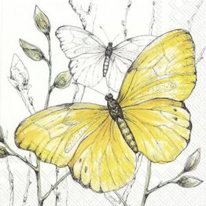 Decoupage napkins 33x33cm, 20 pcs. - COLOURFUL BUTTERFLIES yellow L843670