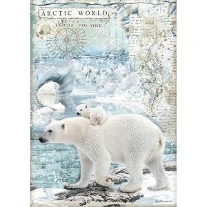 Decoupage Rice Paper A4 - Arctic world Polar bears DFSA4478