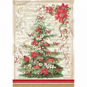 Decoupage Rice Paper A4 - Christmas greetings tree DFSA4476